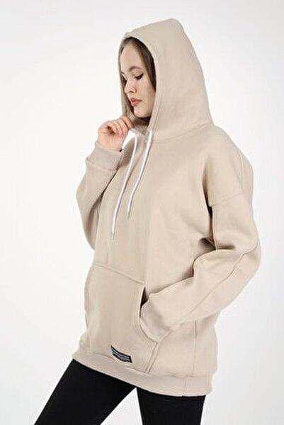 Camel Kapşonlu Oversize Kadın Sweatshirt
