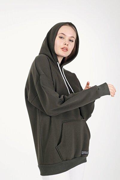 Millionaire Haki Kapşonlu Oversize Kadın Sweatshirt