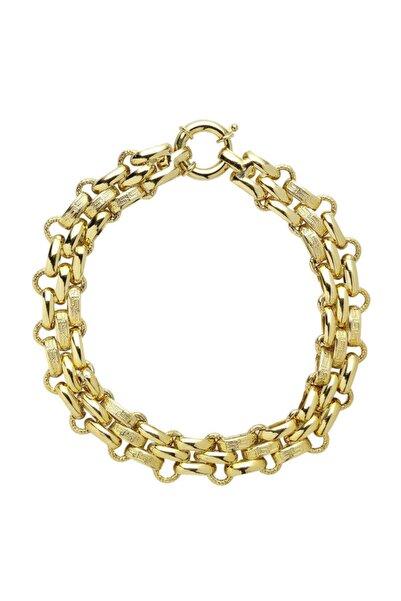 Myra Gold Örgü Model Kalın Zincir Altın Bileklik