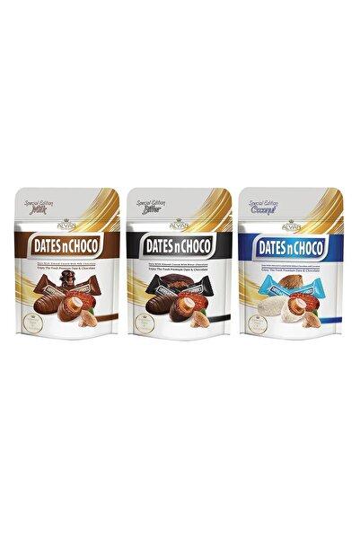 DATESnCHOCO Dates N Choco Sütlü + Hindistan Cevizi Ve Beyaz Çikolata + Bitter Çikolata Kaplı Hurma