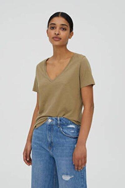 Kadın Orta Haki V Yaka Pamuklu T-Shirt 05234358