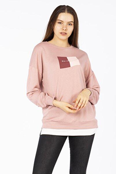 BARRELS AND OIL Kadın Eteği Penye Garnili Sweatshirt-gül Kurusu