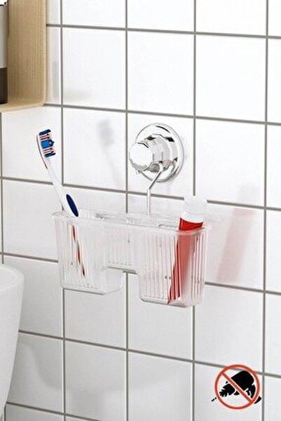 Delme Vida Matkap Yok! Vakumlu Plastik Çok Amaçlı Banyo Fırçalık Rafı Krom Dm058