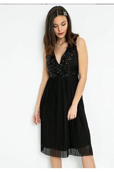 Miss Selens Kadın Siyah Payetli Etek Pileli Tüllü Kısa Elbise