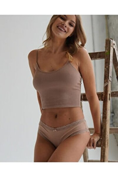 3 ' Lü Paket Natural Modal Lace Kadın Slip - Ten/ten/ten