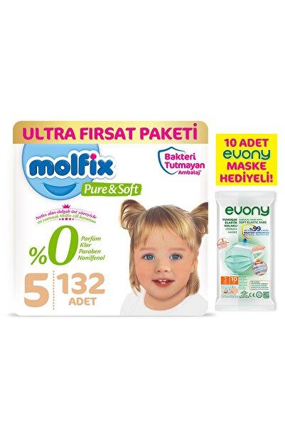 Molfix Pure&Soft Bebek Bezi 5 Beden Junior Ultra Fırsat Paketi 132 Adet + Evony Maske 10'lu Hediyeli