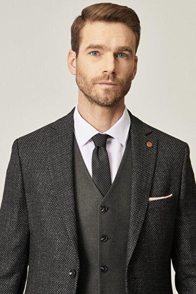 ALTINYILDIZ CLASSICS Erkek Siyah Slim Fit Kombinli Yelekli Yünlü Takım Elbise