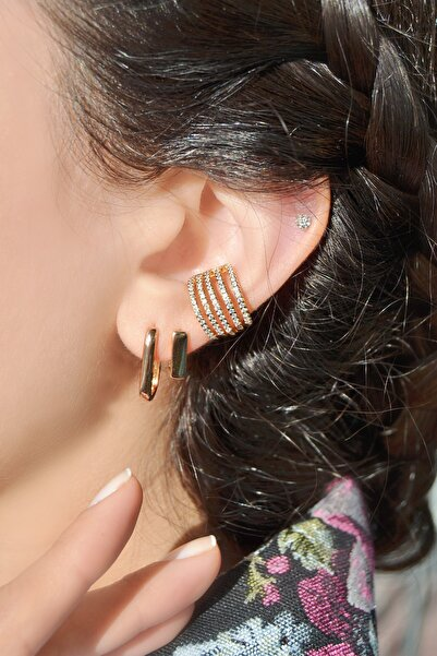 S&A Accessories Kadın Altın Renkli Çok Sıralı Kıkırdak Küpe