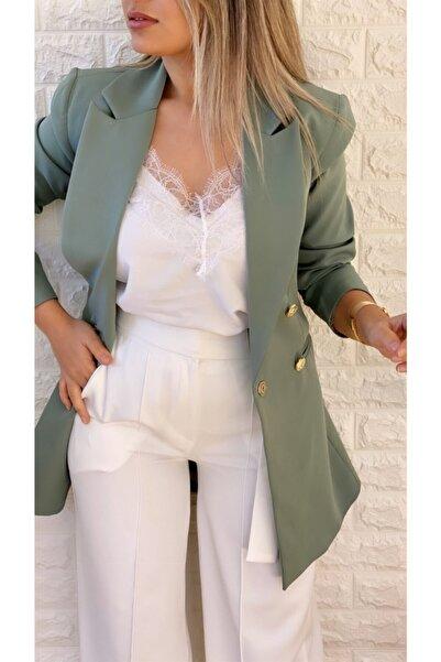 SEDA FİDAN Uzun Gold Düğmeli Blazer Ceket Mint