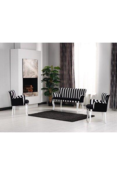Mert Concept Çay Seti Koltuk Takımı 2+1+1 Kollu Zebra Desen Siyah Beyaz Salon Kafe Balkon Otel Ofis Berjer İkili