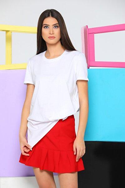 julude Kadın Beyaz Bisiklet Yaka Yanları Yırtmaçlı Tunik T-shirt