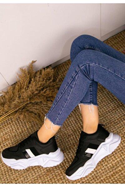 ESPARDİLE Kadın Siyah Cilt Bağcıklı Spor Ayakkabı