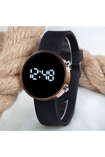 Spectrum Dijital Led Watch Bakır Yuvarlak Kasa Siyah Silikon Kordon Unisex Kol Saat St-303562