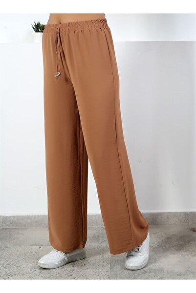 Moda Bu Kadın Kahve Beli Lastikli Bol Paça Salaş Yazlık Pantolon Aerobin 865829