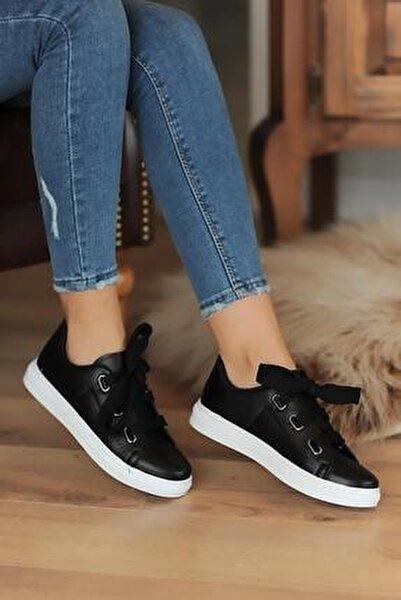 Kadın Siyah Kalın Bağcıklı Günlük Casual Ayakkabı
