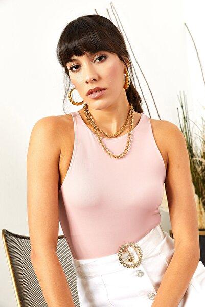 Olalook Kadın Açık Pembe Göğüs Ek Parçalı Altı Çıtçıtlı Bodysuit BDY-00000001