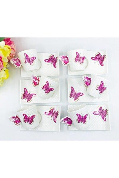 Lavin Sheker Home Kelebek Desenli Porselen Kahve Fincan Takımı  6 Kişilik