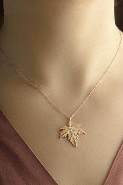 Kadın Pembe Çınar Ağacı Yaprağı Gümüş Kolye
