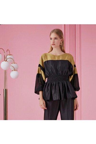 Nocturne Kadın Siyah Gold Beli Lastikli Bluz