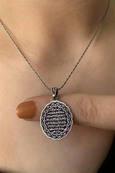 Ziu Kadın Gri 925 Ayar Ayete'l Kürsi Ucu Zinciri Kolye 45 cm