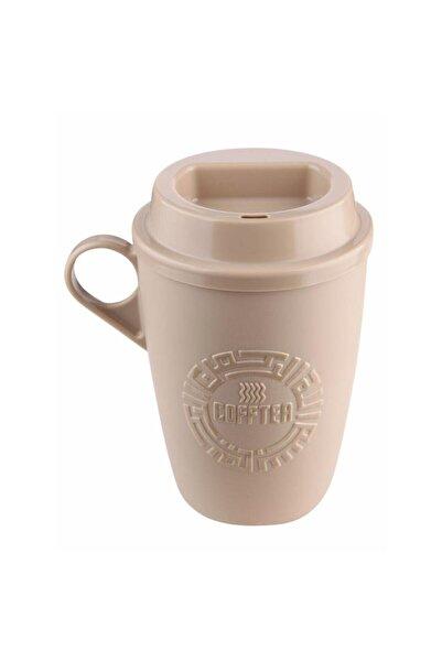 Class2011 Kapaklı Taşınabilir Kulplu Desenli Kahve Ve Çay Bardağı - Plastik Kupa Bardak - Bej 300 ml