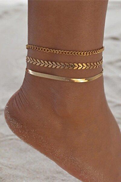 ESUSO Kadın Gold Kaplama Ayak Bilekliği Bileklik Halhal Altın Hal Hal 3lü