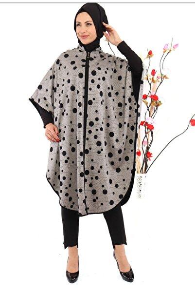 Aydan Giyim Kadın  Gri Puantiyeli Panço