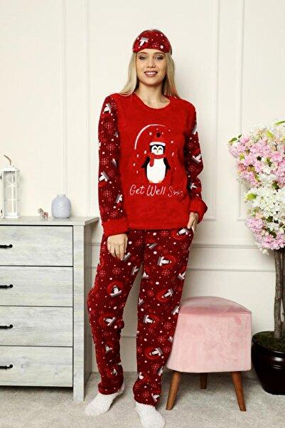nisaNCa Desenli Peluş Polar Uzunkollu Kışlık Bayan Pijama Takımı