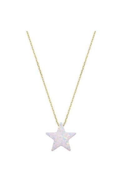 Myra Gold Yıldız Detaylı Beyaz Altın Kolye