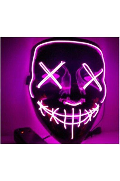 SHOPLİNE Hallowen Led Işıklı Neon Maske 3 Modlu Parti Eğlence Maskesi Mor