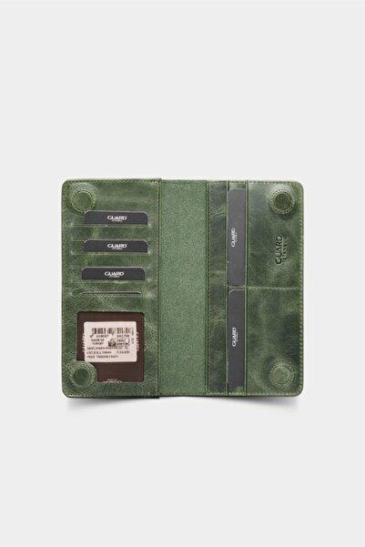 GUARD Telefon Girişli Deri Erkek/kadın Portföy Cüzdan - Haki Yeşil