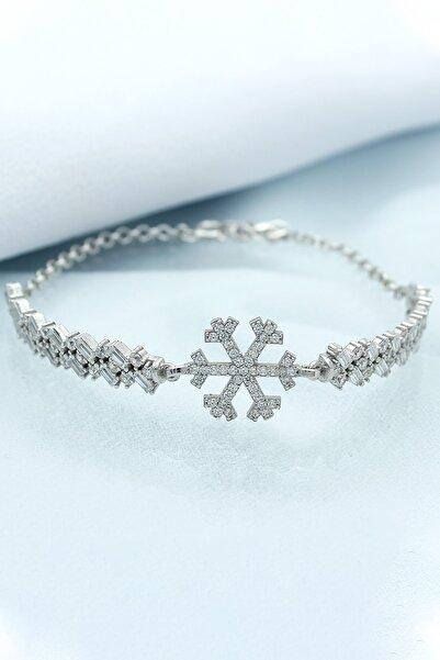 Else Silver 925 Ayar Gümüş Kar Tanesi Prenses Bileklik