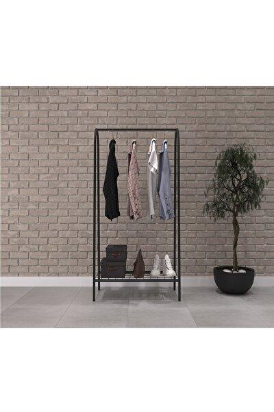 Uyan Ev Ürünleri Metal 1 Raflı Metal Ayaklı Portmanto Ve Raflı Konfeksiyon Askılığı Metal Ayaklı Elbise Askılığı