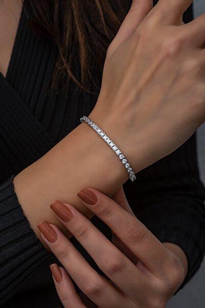 SUNSHINE Kadın Beyaz Taşlı 925 Ayar Gümüş Su Yolu Bileklik
