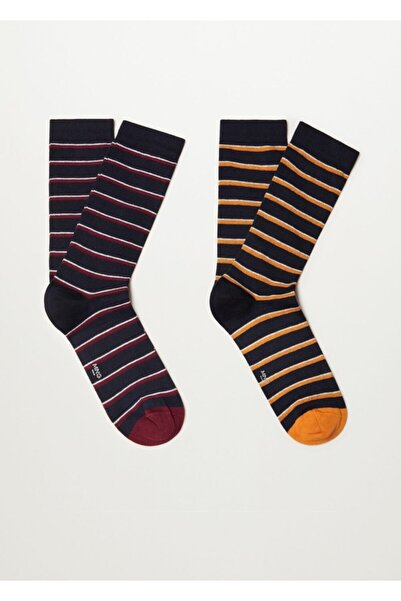 MANGO Man Çizgili 2'li Çorap