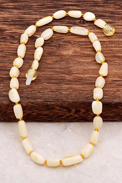 Sümer Telkari Unisex Bebek Sarı Kehribar Diş Kolyesi 6557