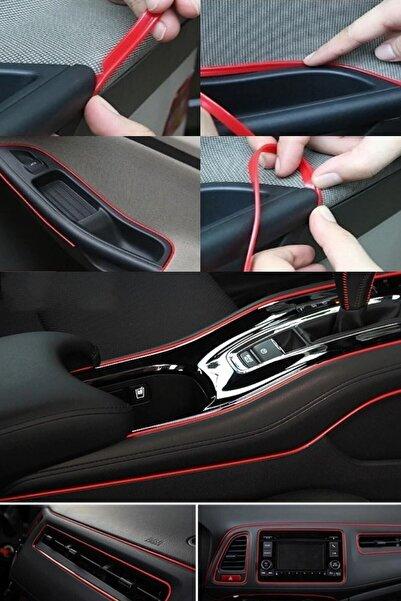 Z Tech Kırmızı Trim Fitilli Yeni Nesil Araç Içi Ip Şerit Balık Sırtı Nikelajlı