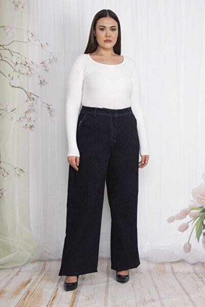 Şans Kadın Lacivert Klasik Kesim Geniş Paçalı Yan Cepli Kot Pantolon 65N22348