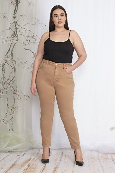 Şans Kadın Camel 5 Cepli Kot Pantolon 65N22349