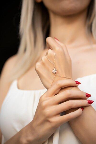 İzla Design Kar Tanesi Model Zirkon Taşlı Rose Gümüş Şahmeran