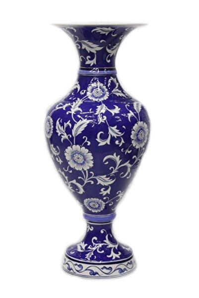 OTANTİK ÇİNİ Dekoratif Mavi Zemin Lotus Çiçeği Dekorlu Elhamra Vazo 32x72 Cm Dir.
