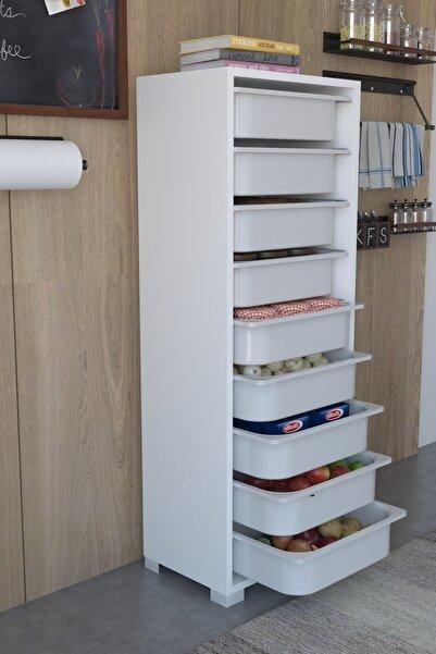 Tedarikcenter Mutfak Dolabı 9 Sepetli Çok Amaçlı Dolap Sebze Dolabı - Beyaz