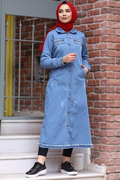 InStyle Püskül Detaylı Uzun Kot Ceket - Açık Mavi