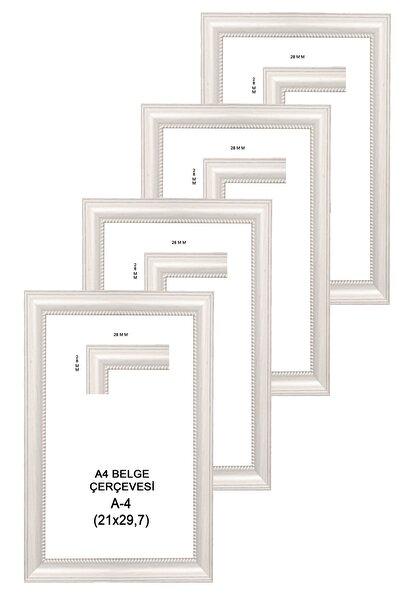 LİONKİNG Eskitme Beyaz 4 Adet A4 Sertifika Çerçevesi Camlı Model 21x29,7 Cm