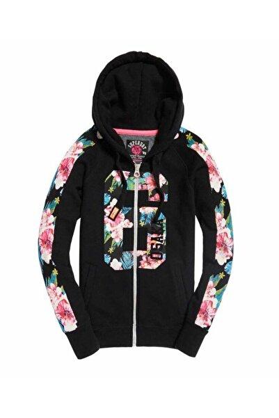 SUPERDRY Kadın Siyah Zip Hoodie Sweatshirt