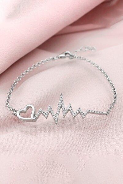 Else Silver 925 Ayar Gümüş Kalp Ritim Bileklik