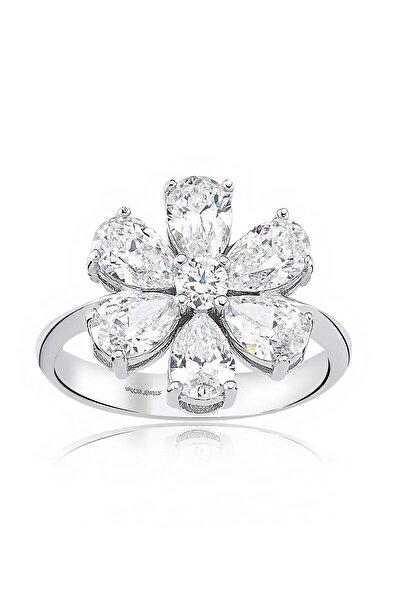 Valori Jewels 2 Karat Zirkon Beyaz Damla Taşlı, Unutma Beni Çiçek Gümüş Yüzük