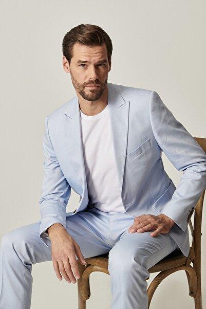 ALTINYILDIZ CLASSICS Erkek Mavi Ekstra Slim Fit Mavi Spor %100 Koton Takım Elbise