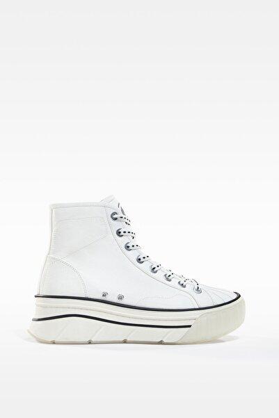 Bershka Kadın Beyaz Platform Yüksek Bilekli Kumaş Spor Ayakkabı