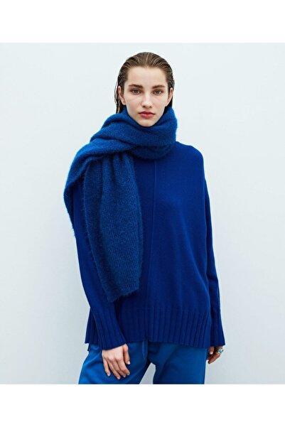 İpekyol Kadın Mavi Kaşmir Karışımlı Basic Triko